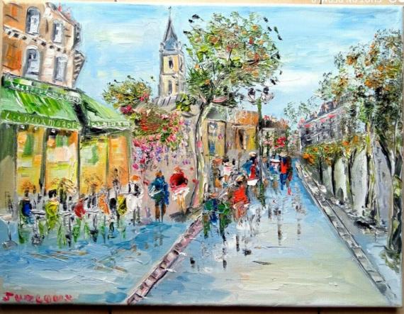 TABLEAU PEINTURE Scène de genre Peinture a l'huile  - PARIS BRASSERIE LES DEUX MAGOTS ST GERMAIN DES PRES