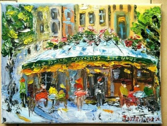 TABLEAU PEINTURE PARIS BRASSERIE HUILE SUR TOILE PARIS Scène de genre Peinture a l'huile  - LES DEUX MAGOTS