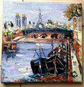 tableau scene de genre paris le pont alexandre ii huile toile : LE PONT ALEXANDRE III