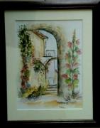 tableau paysages village provence roses tremieres aquarelle : ROSES TREMIERES