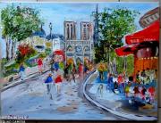 tableau scene de genre : PARIS PARVIS NOTRE DAME DE PARIS