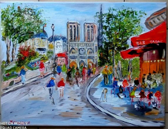 TABLEAU PEINTURE Scène de genre Peinture a l'huile  - PARIS PARVIS NOTRE DAME DE PARIS
