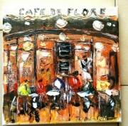tableau scene de genre paris brasserie cafe de flore huile : CAFE DE FLORE PARIS