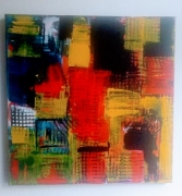 """painting abstrait abstrait : """"Urbain red"""""""