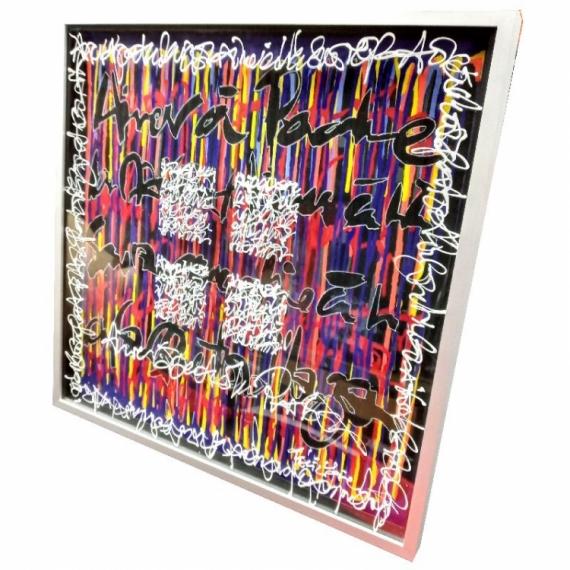 TABLEAU PEINTURE Encre Acrylique Plexiglas Calligraphie  - Aimer à perdre la raison