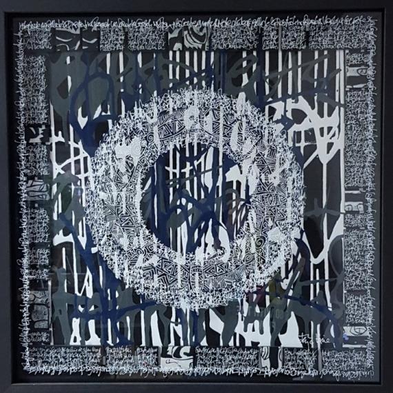TABLEAU PEINTURE calligraphie encre acrylique plexiglas  - Grey mandala 1