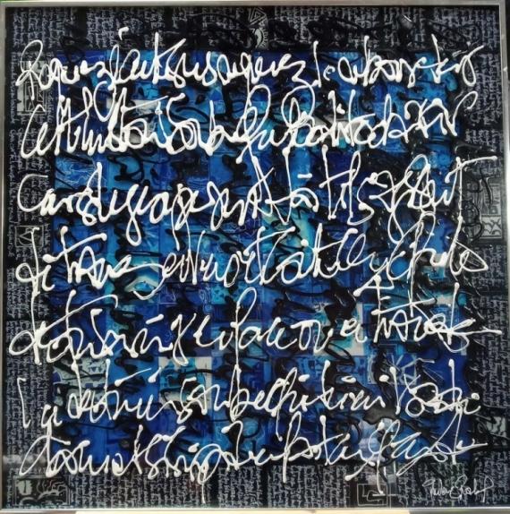 TABLEAU PEINTURE Acrylique encre calligraphie plexiglas  - Blablableu