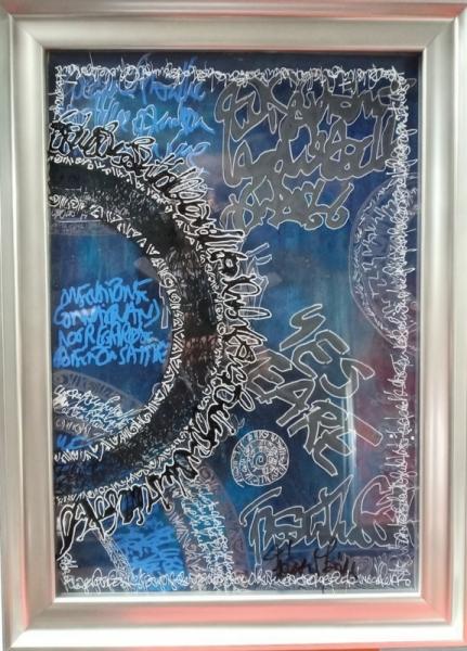 TABLEAU PEINTURE acrylique encre calligraphie plexiglas  - Yes we are