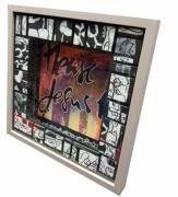 tableau calligraphie acrylique encre plexiglas : Love me please love me