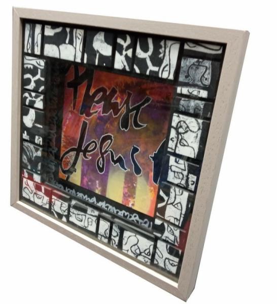 TABLEAU PEINTURE calligraphie acrylique encre plexiglas  - Love me please love me