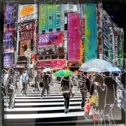 tableau paysages acrylique encre bois collage : City under the rain