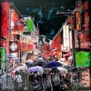 tableau acrylique encre bois collage : People under the rain