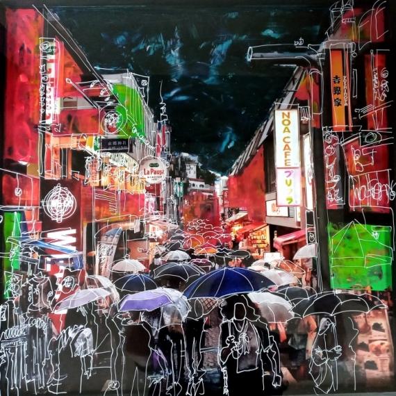 TABLEAU PEINTURE acrylique encre bois collage  - People under the rain
