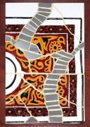 """deco design abstrait tableau plateau ceramique mosaique : Dans tous ses éclats """"NABEUL EN FEU"""""""