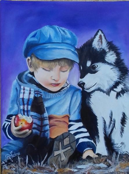 TABLEAU PEINTURE enfant pomme et chie Personnages Peinture a l'huile  - c'est bon ce que tu mange?