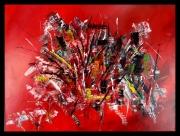 tableau abstrait abstrait rouge acrylique : Bouquet final
