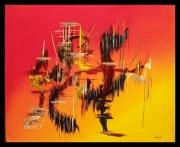 tableau abstrait acrylique abstrait jaune orange : Le dragon