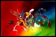tableau abstrait abstrait acrylique rouge : Explosion printanière
