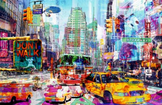 TABLEAU PEINTURE pop art new york urban Villes  - Spider tracking Vador