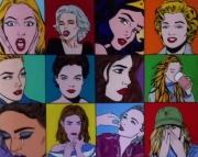 tableau personnages femme expression pop art : etats dames