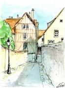 dessin villes ville pan de bois ruelle tertre : Chartres 2