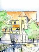 dessin villes chartres paysage eglise : Vue de Chartres 1
