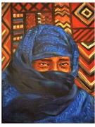 tableau personnages regard voile desert homme : L'homme bleu