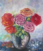 tableau fleurs fleurs roses bouquet : Les roses d'Achères