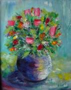 tableau fleurs fleurs bouquet moderne pot : Bouquet couteau