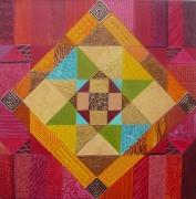 tableau abstrait oriental couleurs geometrique abstrait : Patchwork
