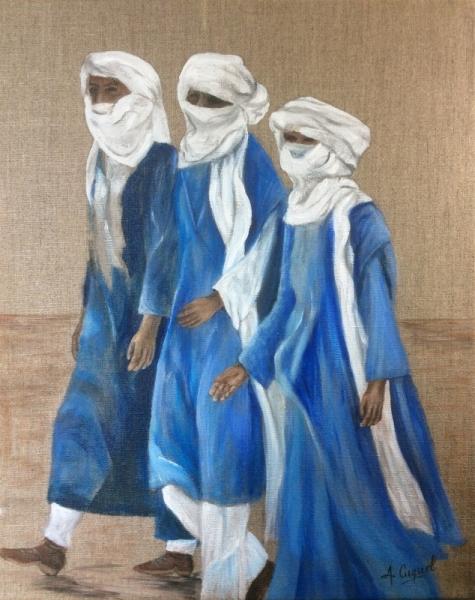 TABLEAU PEINTURE hommes bleus désert maghreb Personnages Acrylique  - Touaregs