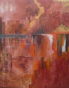 tableau paysages ville reflets eau city : reflets city