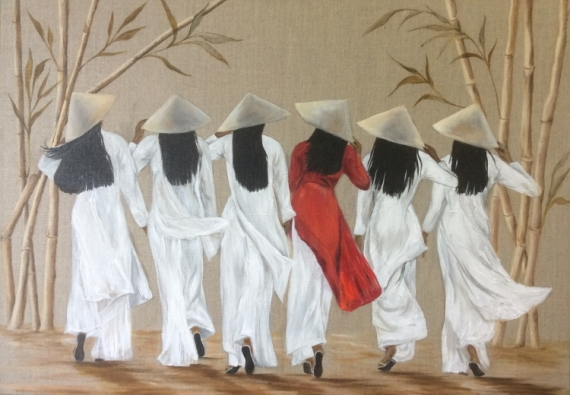 TABLEAU PEINTURE vietnam femmes bambous Personnages Acrylique  - Vietnamiennes