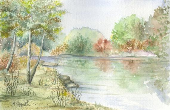 TABLEAU PEINTURE rivière eau arbres nature Paysages Aquarelle  - Au bord de l'eau