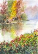 tableau paysages nature paysage eau arbres : La rivière