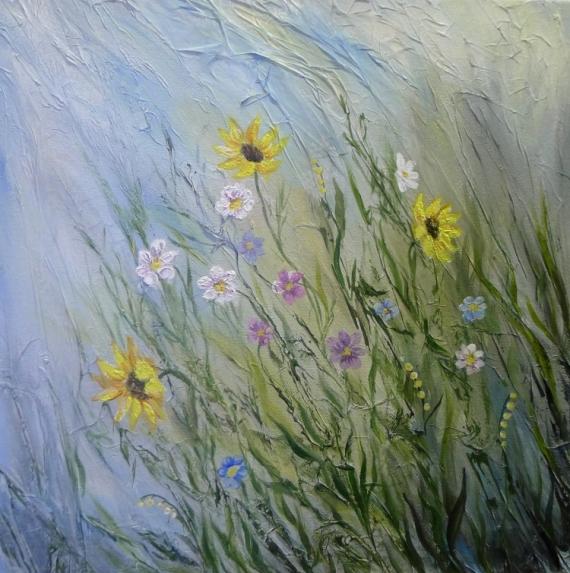 TABLEAU PEINTURE fleurs nature campagne bouquet Fleurs Acrylique  - fleurs des champs