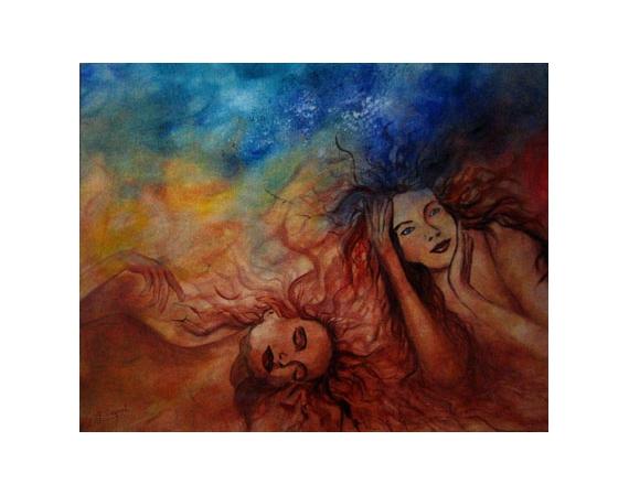 TABLEAU PEINTURE femme rêve poesie amour Personnages Peinture a l'huile  - Rêveries