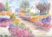 tableau paysages fleurs printemps chemin : Le chemin fleuri