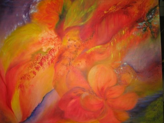 TABLEAU PEINTURE abstrait déco fleurs original Abstrait Peinture a l'huile  - Impression orangée