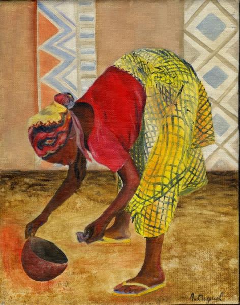 TABLEAU PEINTURE afrique exotisme africaine voyage Personnages Peinture a l'huile  - La calebasse