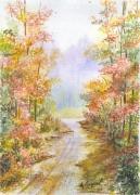 tableau paysages automne foret arbres chemin : Le chemin