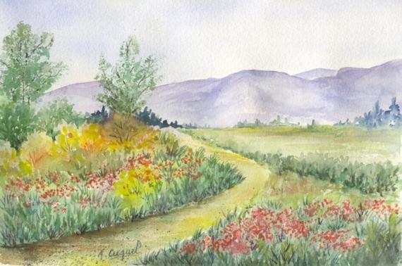 TABLEAU PEINTURE nature campagne montagne paysage Paysages  - Le chemin vers la montagne