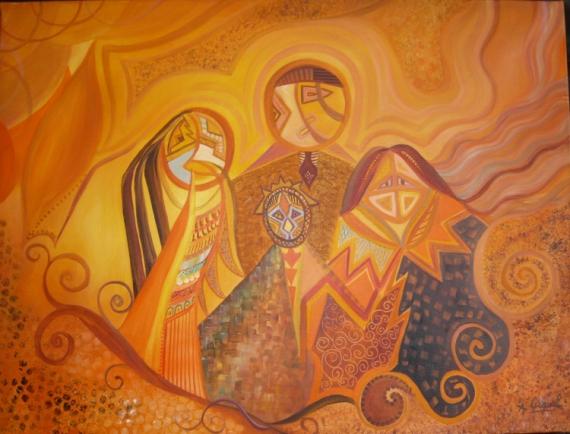 TABLEAU PEINTURE afrique indiens famille graphique Abstrait Peinture a l'huile  - Ethnie 3