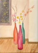 tableau nature morte fleurs pots trois interieur : Les trois vases