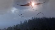 art numerique animaux paysage jurassique pterosaures paleontologie : Brumes du matin