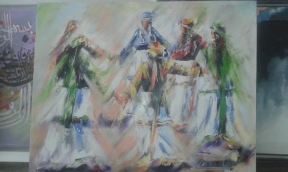 TABLEAU PEINTURE Femmes Marocaines Berbère Zarioula Peinture a l'huile  - Femme berbère
