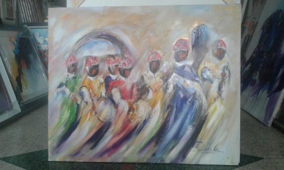 TABLEAU PEINTURE Gnaoua Dance Zarioula Personnages Peinture a l'huile  - Gnaoua 2