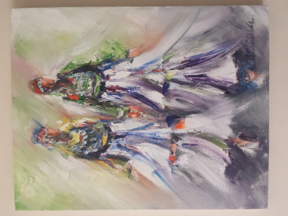 TABLEAU PEINTURE femme bérbére dance folclor Peinture a l'huile  - femme bérbère 2
