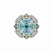 mixte abstrait mandala geometrie yoga detente : Mandala bleu