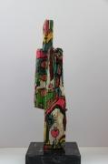 sculpture personnages ucycling totem bois pigments : L'homme debout